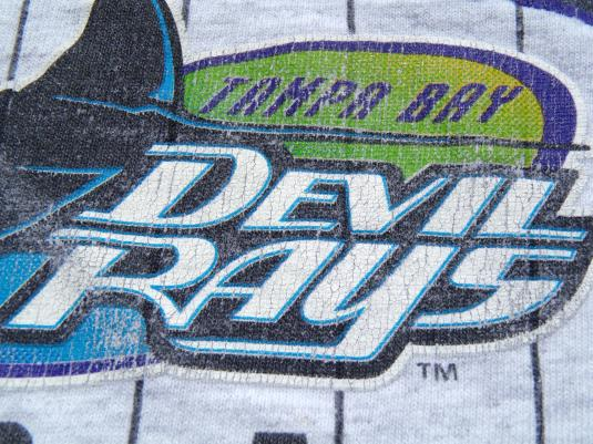Vintage 1997 Tampa Bay Rays MLB Gray Pinstriped T Shirt L