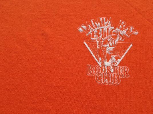 Vintage 1980s Tampa Bay Bucs Booster Club Orange T-Shirt XL