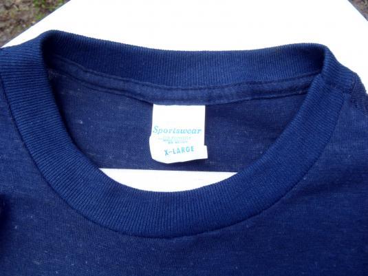 Vintage 1970s Navy Blue duPont Buckle Power T-Shirt M/XL