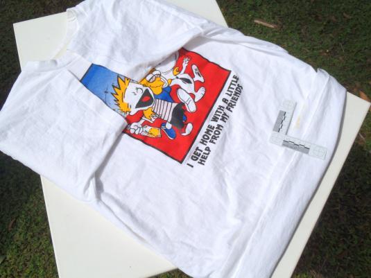 Vintage 1990s Bootleg Bart Simpson Calvin White T Shirt XL