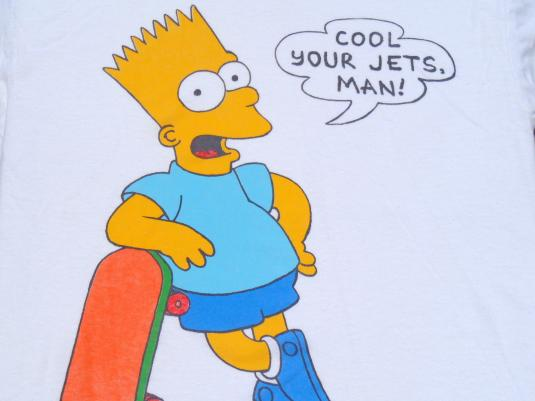 Vintage 1980s White Cool Your Jets Man Bart Simpson T-Shirt