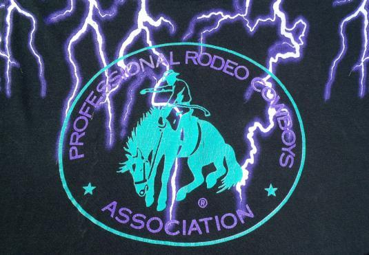 Vintage 1990s Professional Rodeo Cowboys Black T Shirt L
