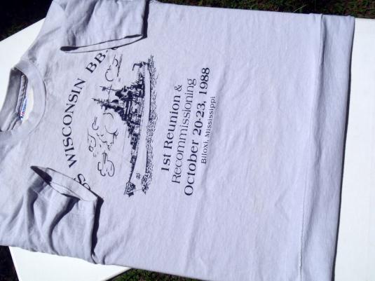 Vintage 1980s USS Wisconsin Reunion Gray Cotton T-Shirt M