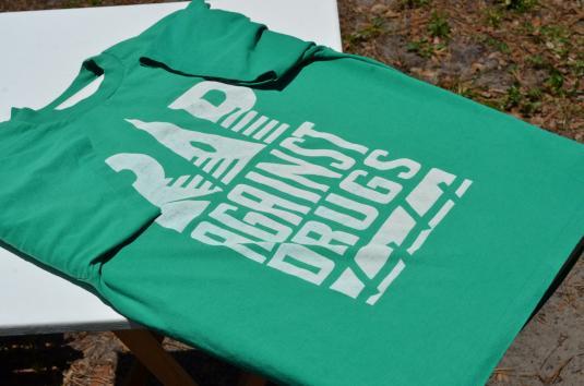 Vintage 1990s Rap Against Drugs Teal T Shirt L