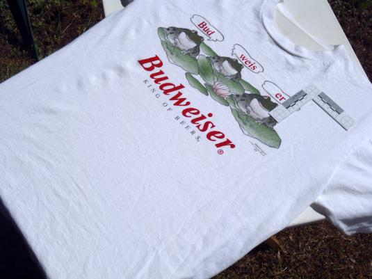 Vintage 1995 Budweiser Frogs White Cotton T-Shirt L