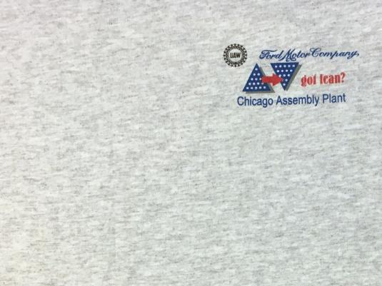 Vintage 1990s UAW Ford Chicago Assembly Plant Gray T-Shirt