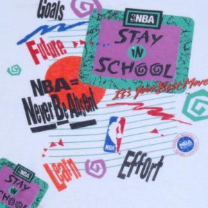 Vintage 1990s White NBA Basketball Stay in School T-Shirt L