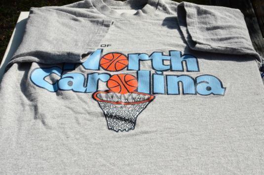 Vintage 1980s UNC Basketball Gray Rayon Blend T Shirt
