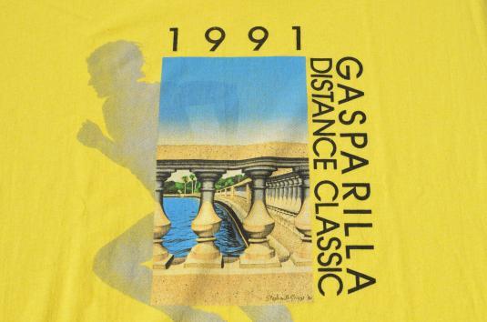 Vintage 1991 Gasparilla Distance Classic Yellow T-Shirt XL