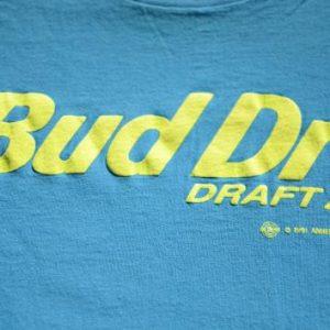 Vintage 1991 Bud Dry Draft Aqua T-Shirt