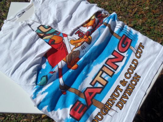 Vintage 1990s Garfield Vault Eating White T Shirt