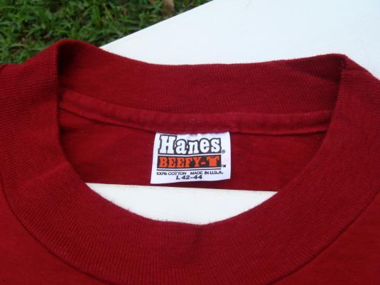 Vintage 1980s Hanns Kornel Champagne Red Cotton T-Shirt L