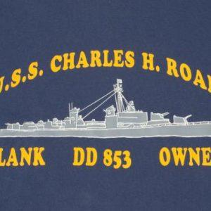 Vintage 1980s Navy Blue Charles H Roan Destroyer T Shirt XL