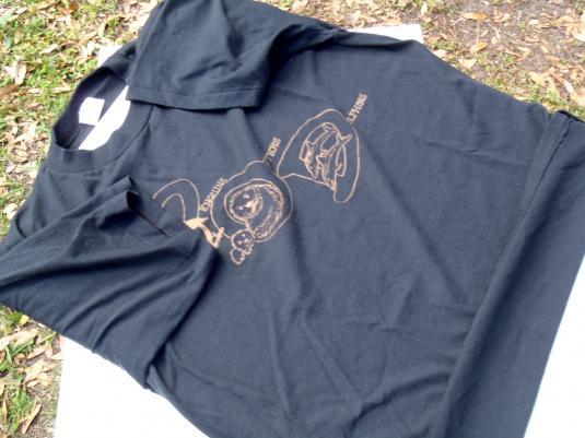 Vintage 1980s Penguins Otters Dolphins Black T Shirt L/XL