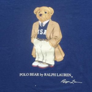 Vintage 1990s Polo Bear Navy Cotton T-Shirt L Ralph Lauren