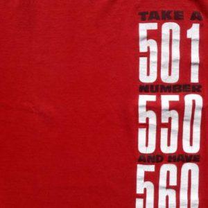 Vintage 1993 Red Levis 501 Blue Jeans Cotton T Shirt M