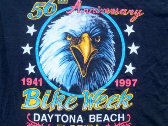 Vintage 1990s Daytona Beach Bike Week Black T-Shirt XL