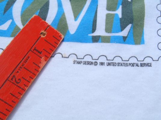Vintage 1990s Fishers Lovebirds Love Stamp White T-Shirt L