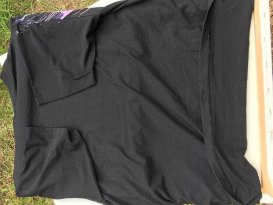Vintage 1990s Pastel Spin Art Black T-Shirt XL Hanes