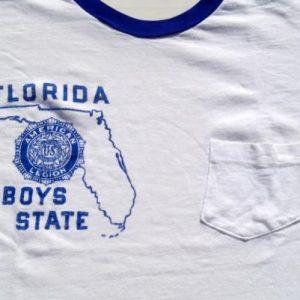 Vintage 1980s Florida Boys State White Ringer T-Shirt S
