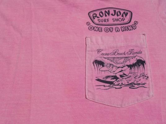Vintage 1989 Acid-Washed Pink Ron Jon Pocket T Shirt M