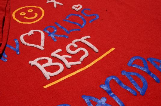 Vintage 1980s Worlds Best Grandpa Red Graphic T-Shirt L