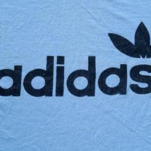 Vintage 1980s Adidas Light Blue Ringer T-Shirt XL