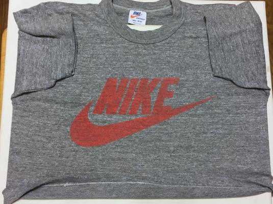 Vintage 1980s Nike Red Swoosh Half T-Shirt S/M Rayon Blend