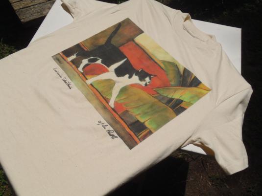 Vintage 1990s John Preble Shorthair Cat Beige T Shirt M