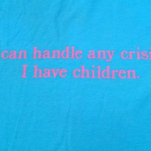 Vintage 1980s Light Blue Funny Crisis Child Parent T-Shirt L