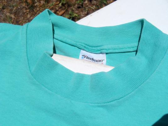 Vintage 1980s Aqua North Beach NC Newspaper Cotton T-Shirt XL