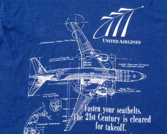 Vintage 1990s United Airlines Boeing 777 Specs T Shirt M