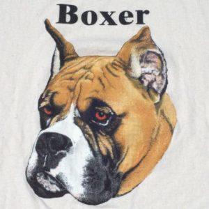 Vintage 1980s Beige Boxer Dog Breed Cotton T Shirt XL