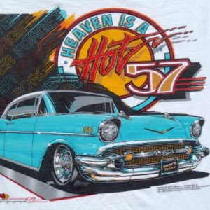 Vintage 1993 Heaven is a Hot '57 Chevy White T-Shirt L