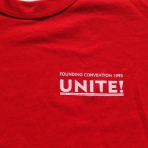 Vintage 1995 UNITE Trade Union First Convention T-Shirt XL