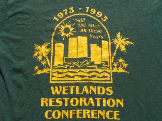 Vintage 1993 Wetlands Restoration Green Cotton T-Shirt L/XL