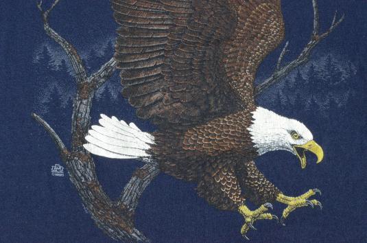 Vintage 1990 Bald Eagle Navy T-Shirt M