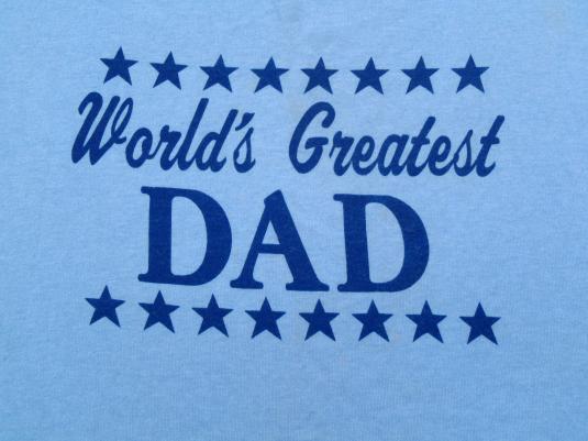 Vintage 1980s Worlds Best Dad Light Blue T-Shirt XL