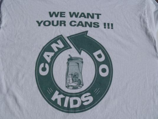 """Vintage 1990s Can DO Kids """"We Want Your Cans"""" T-Shirt L"""