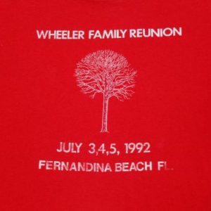 Vintage 1990s Red Wheeler Family Reunion July 1992 T-Shirt L