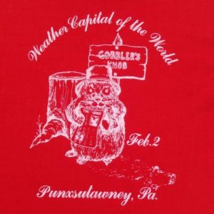 Vintage 1980s Punxutawney Phil Groundhog Day Red T Shirt M/L