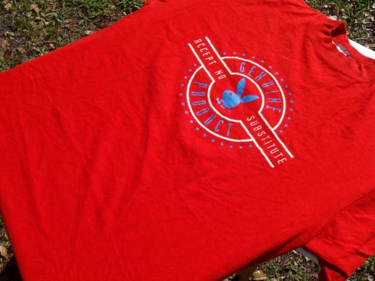 Vintage 1990s Playboy Genuine Product Red T Shirt L/XL