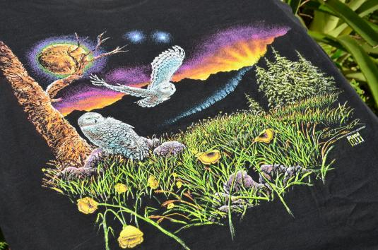 1990s Owls Print by Stand Out Productions Vintage T-Shirt