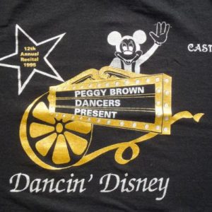 Vintage 1995 Black Dancing Disney Peggy Brown T Shirt S