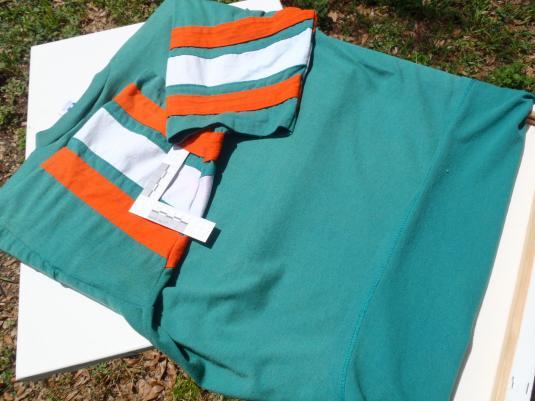Vintage 1980s Aqua Orange Miami Dolphins Jersey T Shirt L