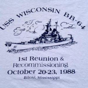 Vintage 1980s USS Wisconsin Reunion Gray Cotton T-Shirt M