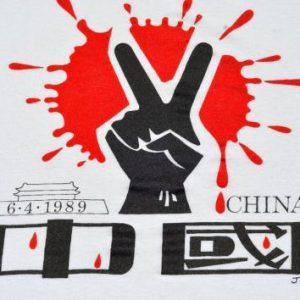Vintage 1989 Tiannamen Square 6-4-89 Protest White T-Shirt M