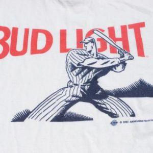 Vintage 1991 Bud Light Baseball White and Red T-Shirt M/L