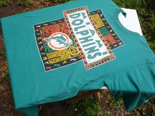 Vintage 1990s Aqua Miami Dolphins Cotton Throwback T Shirt L