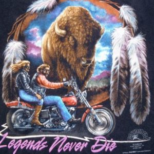Vintage 1990s Black Motorcycle Buffalo Wonder Lake T Shirt L